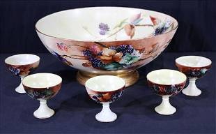 Hand painted Limoges punch bowl with 5 cups