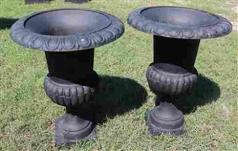 Pair 1 piece black cast iron garden urns, 29.5 in.T.
