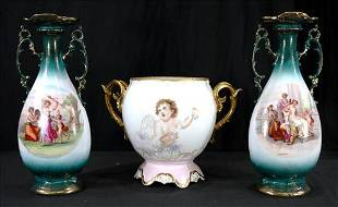 3 hand painted vases, 1 with gold, 2 vases are signed