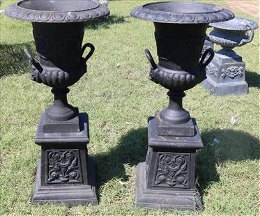 Pair 2 piece black cast iron garden urns, 27 in. T.