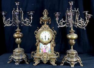 Bronze Ansonia mantle clock set with candelabras