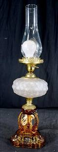 White lamp with amber base, 23 in. T.