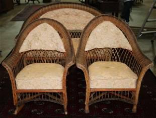 3 piece wicker parlor set, settee, chair and rocker