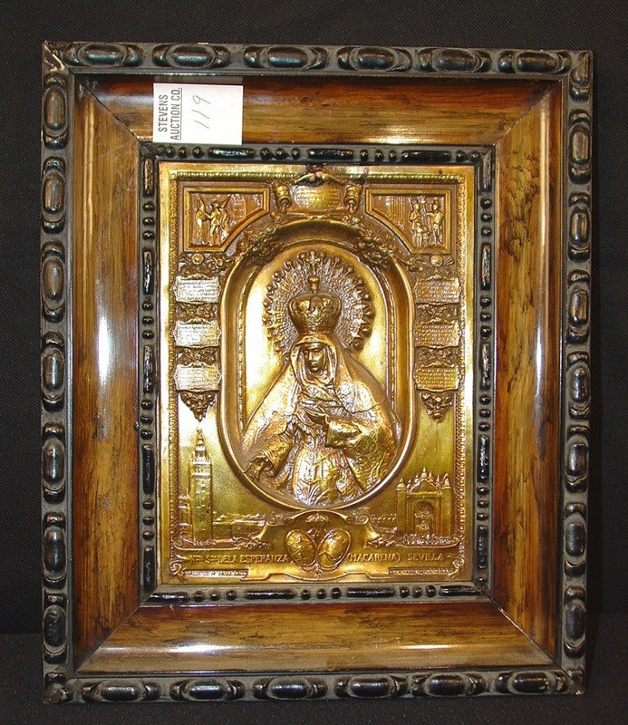 119: Russian Brass Icon, 11 in. x 9.5  in black frame