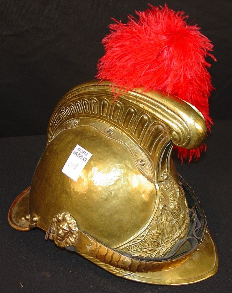 110: French Brass Dress Hat with red plume, eagle crest
