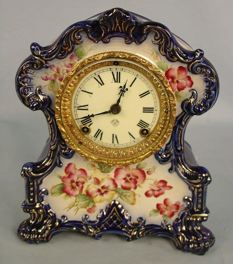 2: Ansonia Wichita Cobalt Blue China Clock, 12in. T, 10