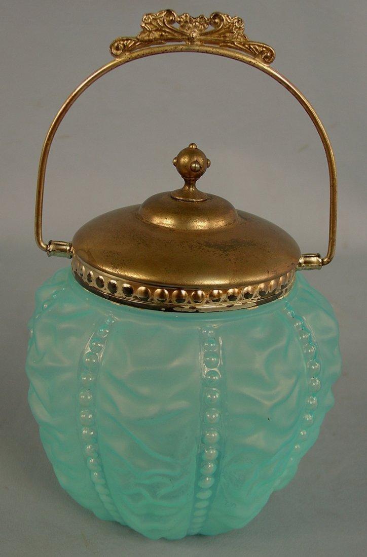 7: Blue Satin Glass Biscuit Jar, some plating missing,