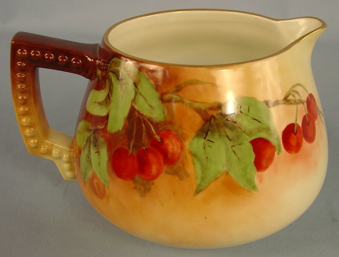 8: Hand Painted Bavarian Pitcher, cherries and leaves,