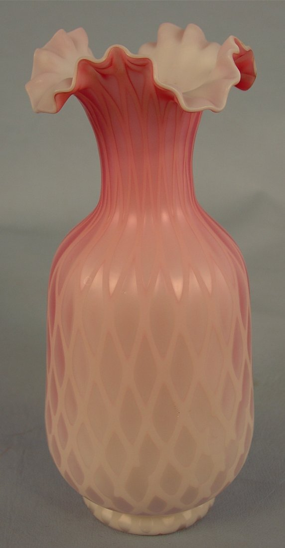11: Diamond Quilted pink Satin Glass Vase, 9in. T, 4in.