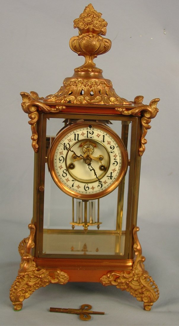 12: Waterbury Avignon Crystal Regulator Clock, 18in. T,