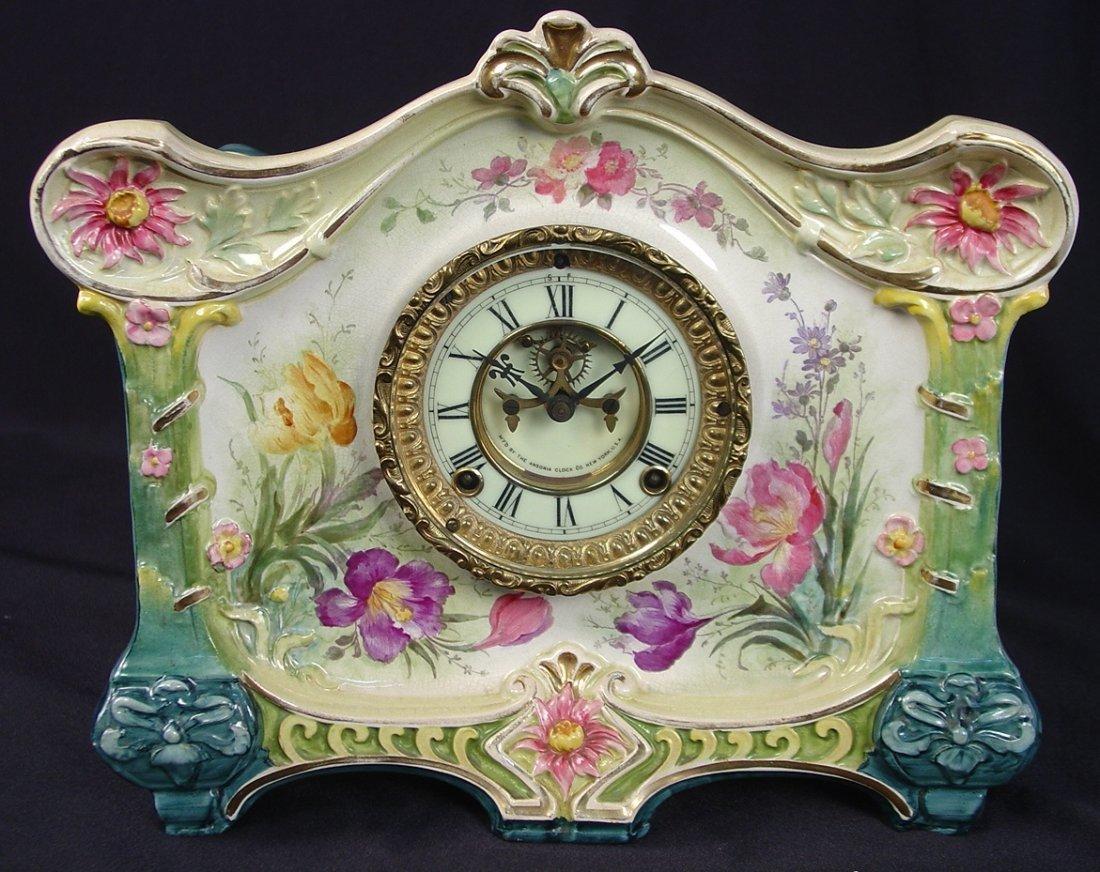 24: Ansonia China Clock, LA Croix, Royal Bonn Case, not