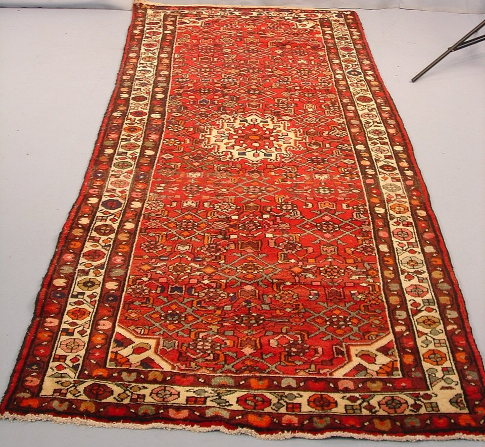 215: Hand Made Persian Hall Runner, 9ft 3in x 4ft, red,