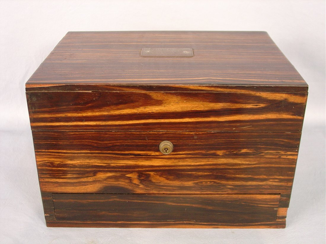 Rosewood Victorian Dresser Box with sterling lids on gl