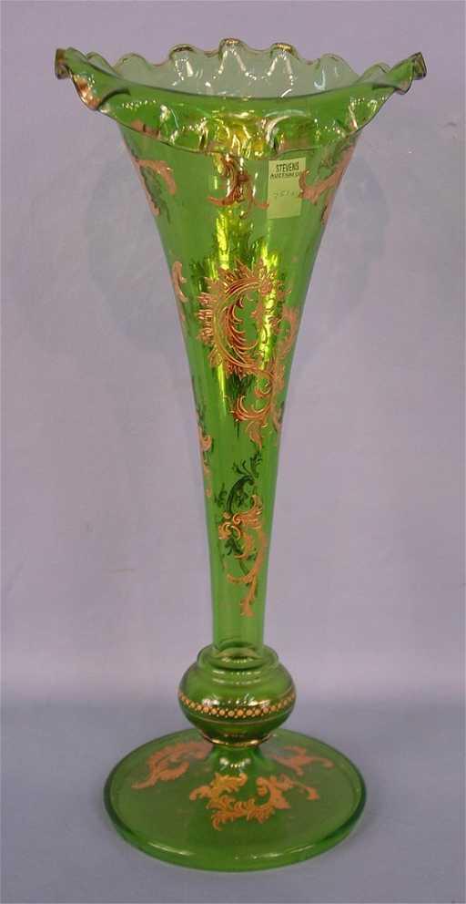 Tall Green Victorian Art Glass Vase Trumpet Style Flut