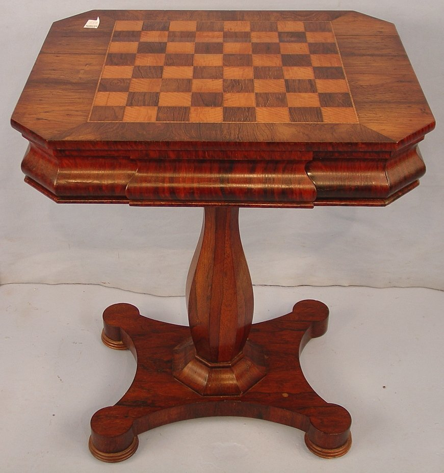 Rosewood Victorian Checkered Top Table with 2 drawers,