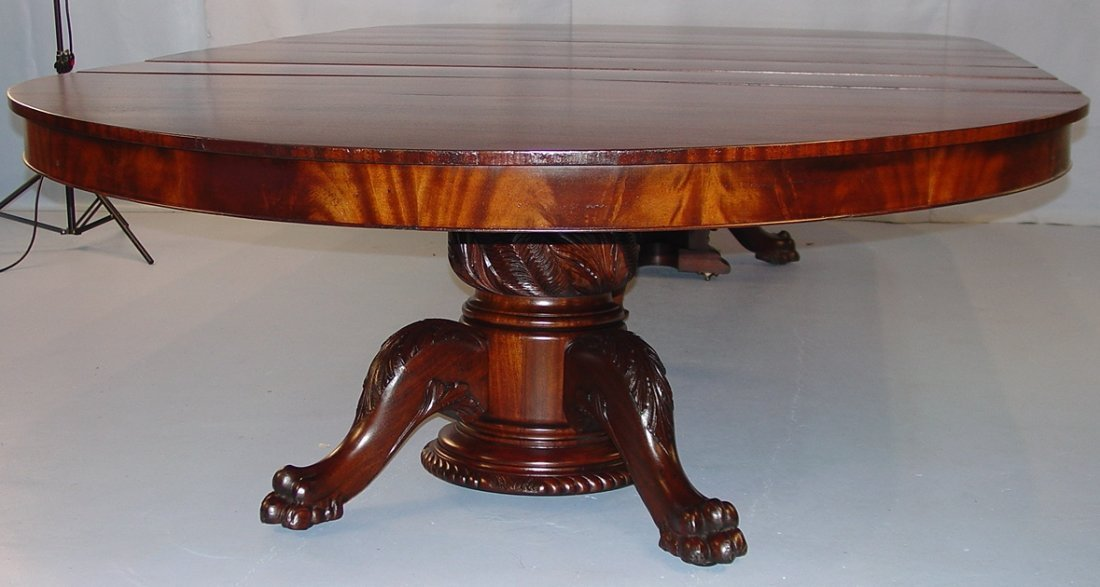 Mahogany Empire Banquet Dining Table with acanthus carv