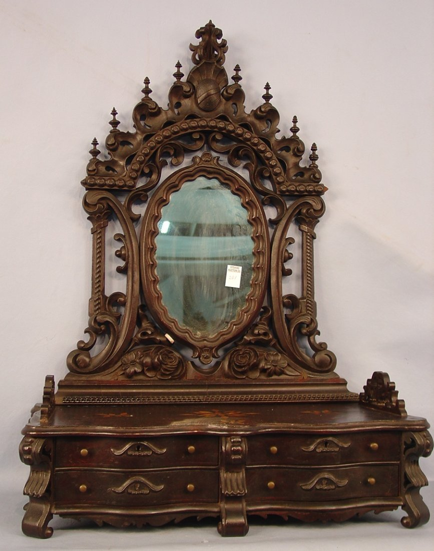 Rosewood Rococo shaving Mirror, inlay in top, carved mi