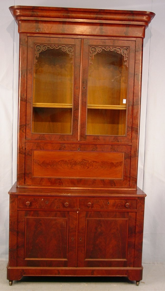 Mahogany  Empire Secretary Desk, fretwork on top of tal