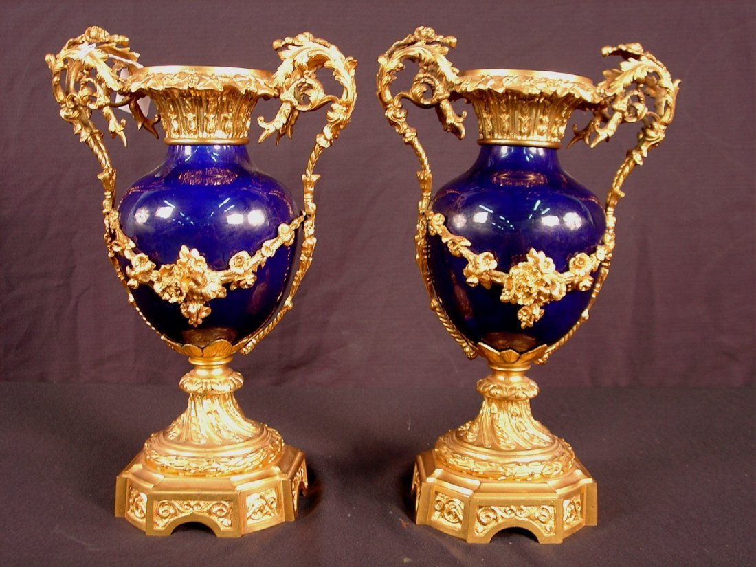 Pair of Louis Phillipe Cobalt Blue Porcelain Urn form
