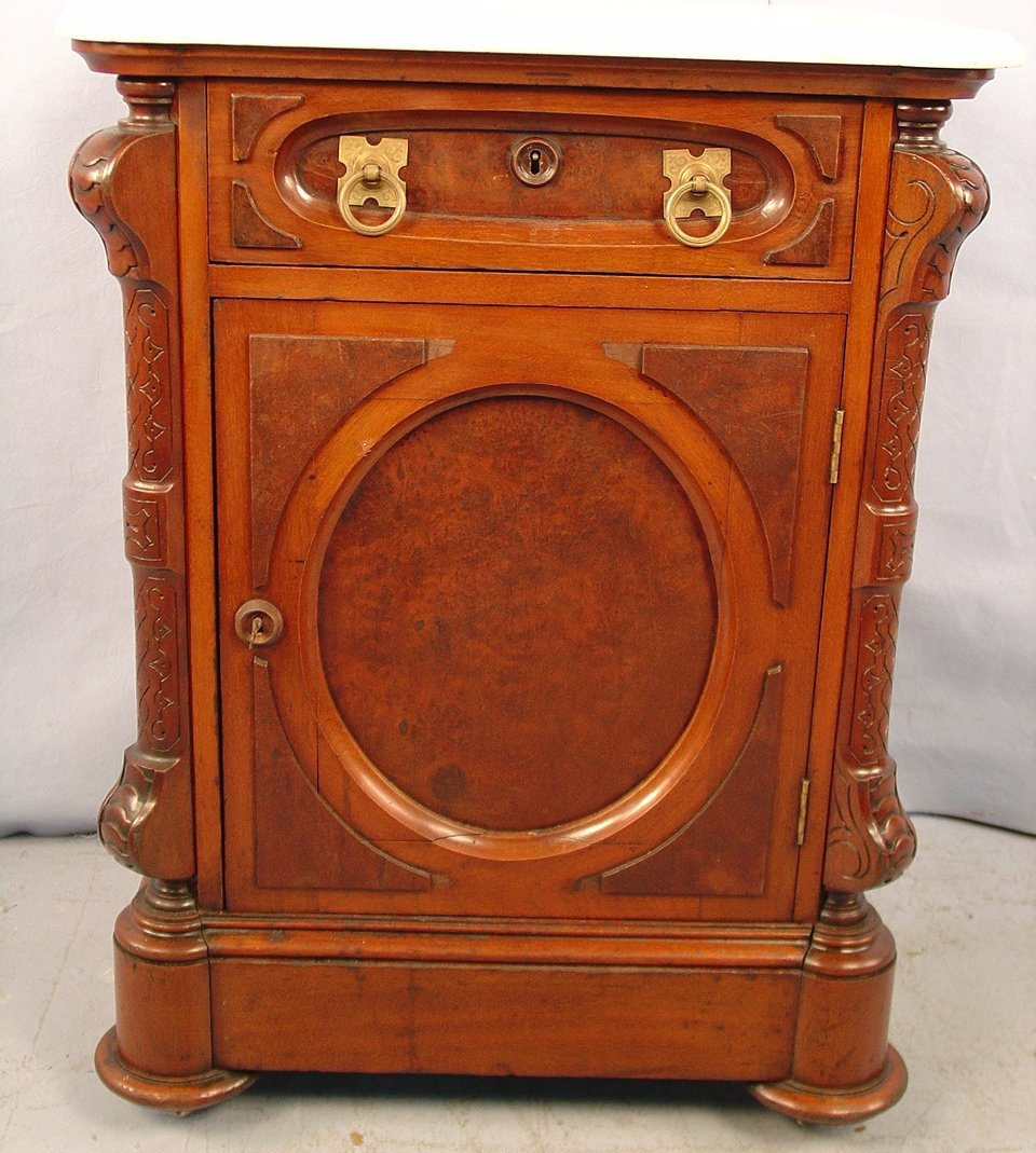 Victorian Walnut Half Commode with white M/T, drawer wi