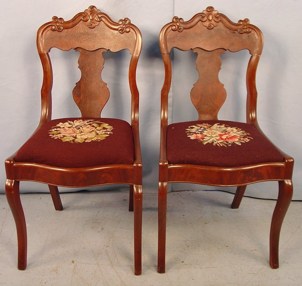 Two Empire dining Chairs with needlepoint seats, 33in.