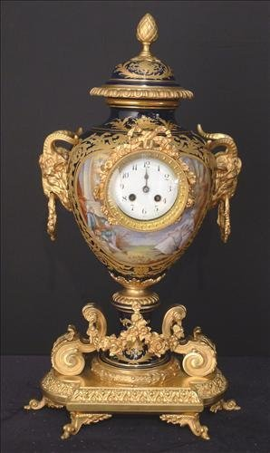 Rare 19th Century Sevres Clock in Urn Form, hand painte