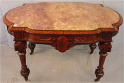 Victorian Renaissance Revival  Marble Top Center Table