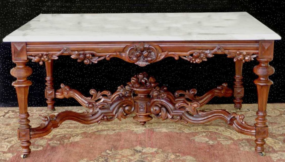Monumental Rosewood Rococo Marble Center Table with det