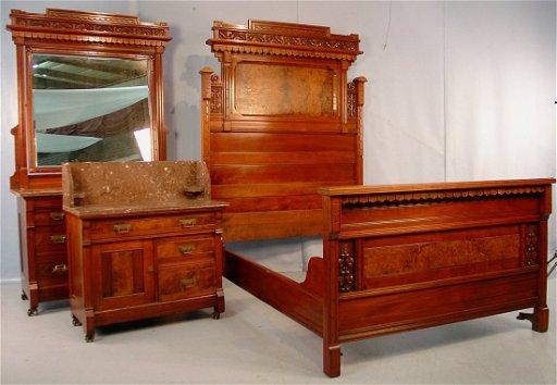 Victorian Eastlake Walnut 3 Piece Bedroom Set Bed 83