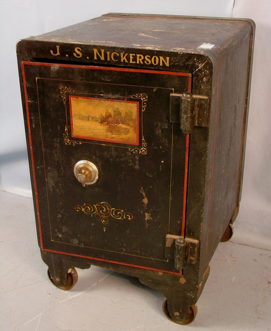 1: Victorian J.S. Nickerson Old Store safe, 31in. T,