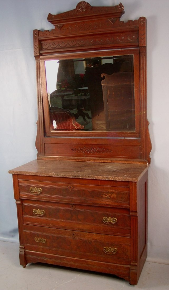 2: Walnut Eastlake Victorian marble top dresser with