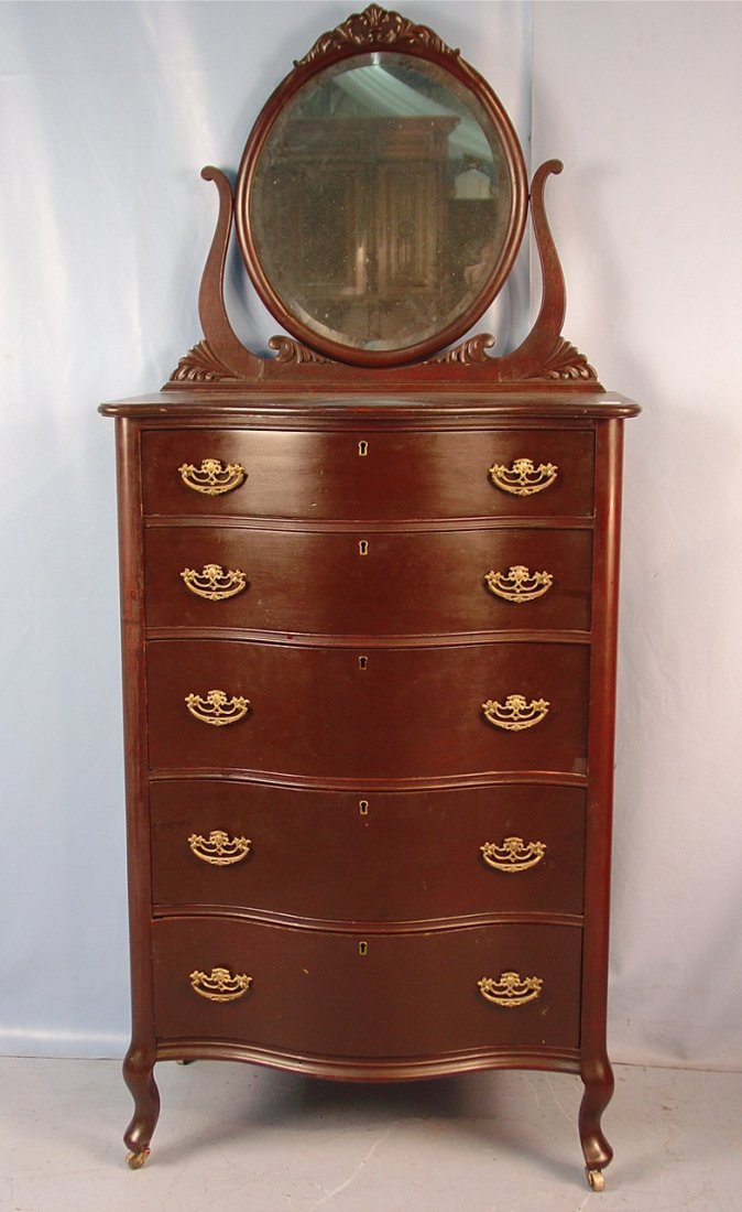 5: Mahogany highboy chest with beveled  mirror at
