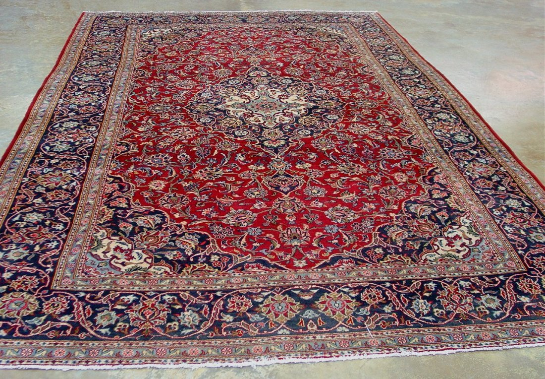7: Hand made Pesian rug made in iran, red, blue,
