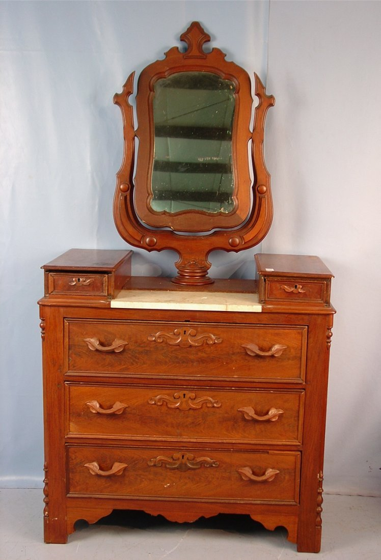 12: Walnut Victorian wish bone dresser with marble