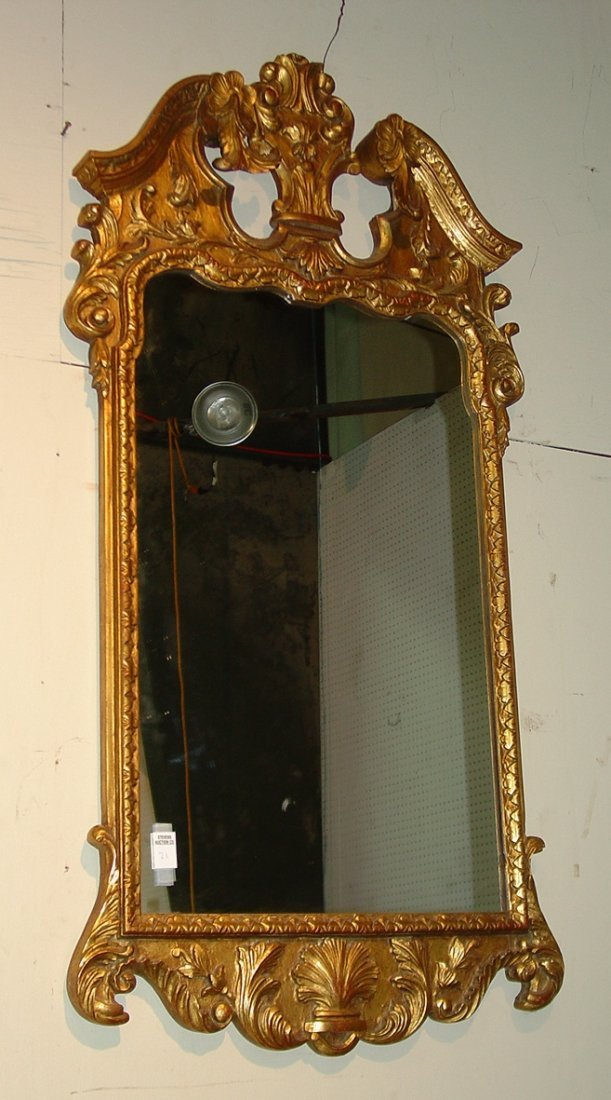 21: Contemporary gold hanging mirror, 48in. T, 44in.