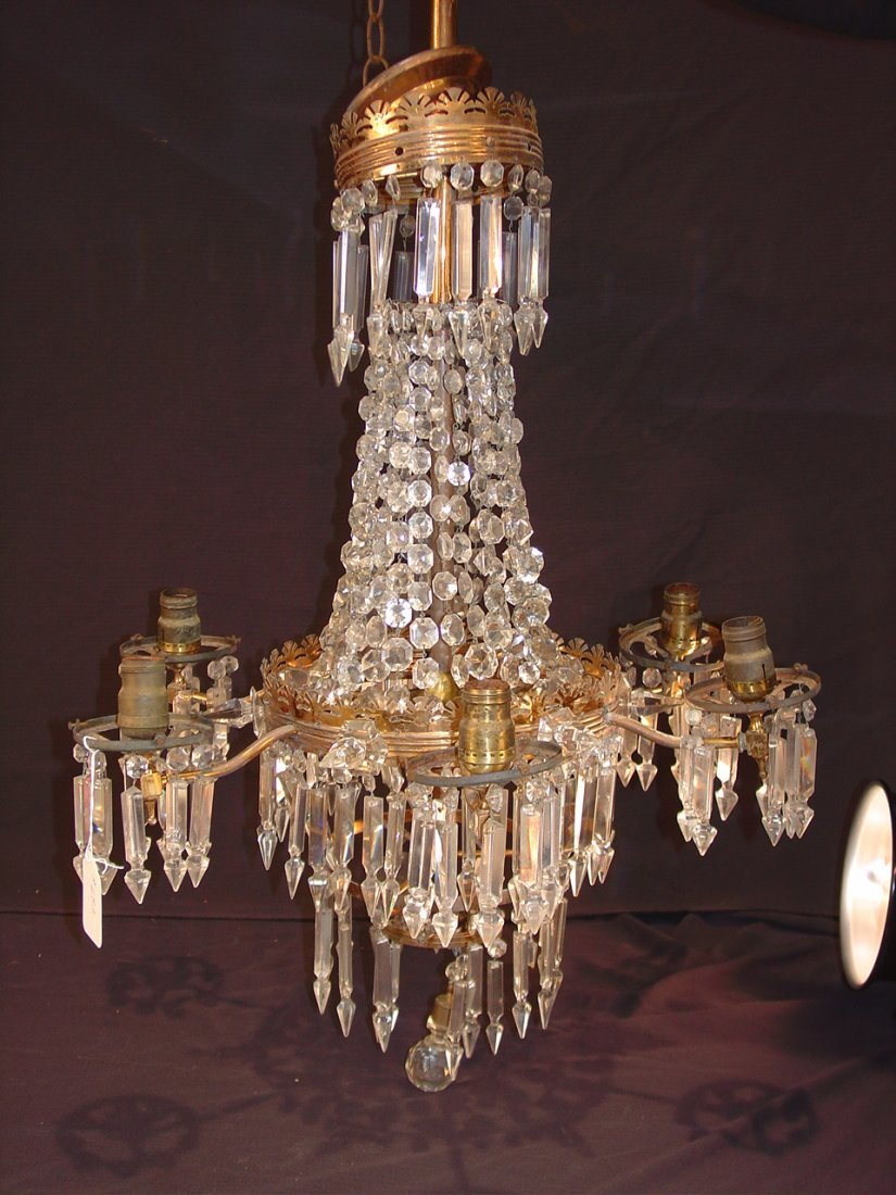 22: Bronze Victorian 6 arm gasolier covered in prisms,