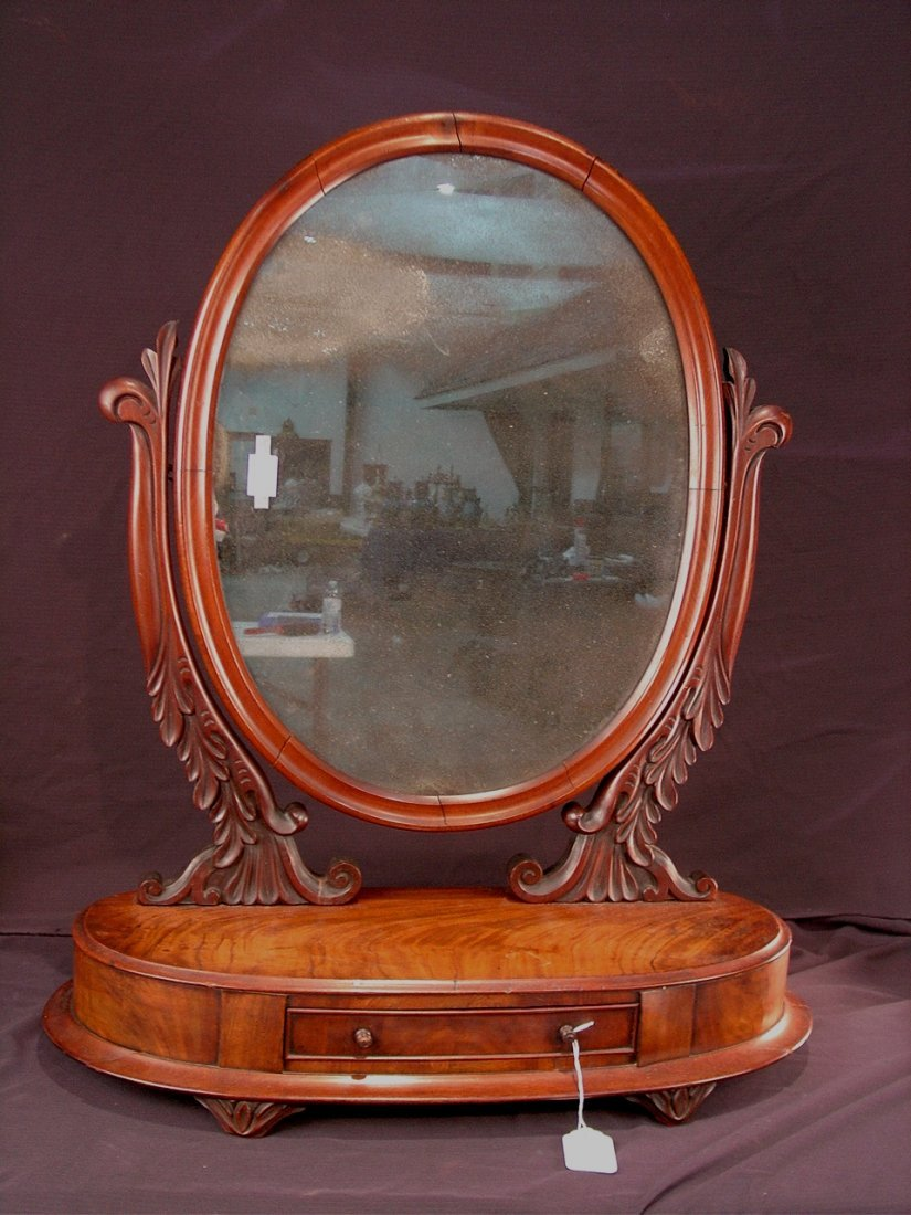 24: Mahogany Victorian shaving mirror with drawer, oval
