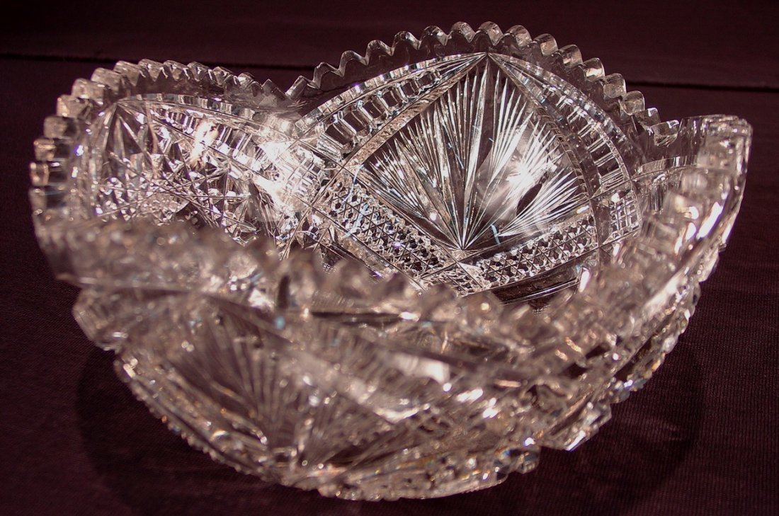 501: American brilliant cut glass bowl, 4in. T, 8in.