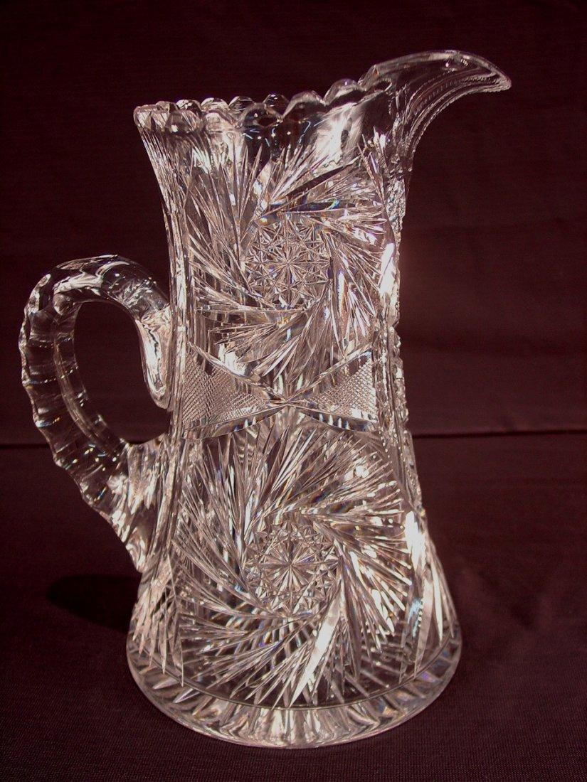 502: American brilliant cut glass pitcher, 10.5in. T.,
