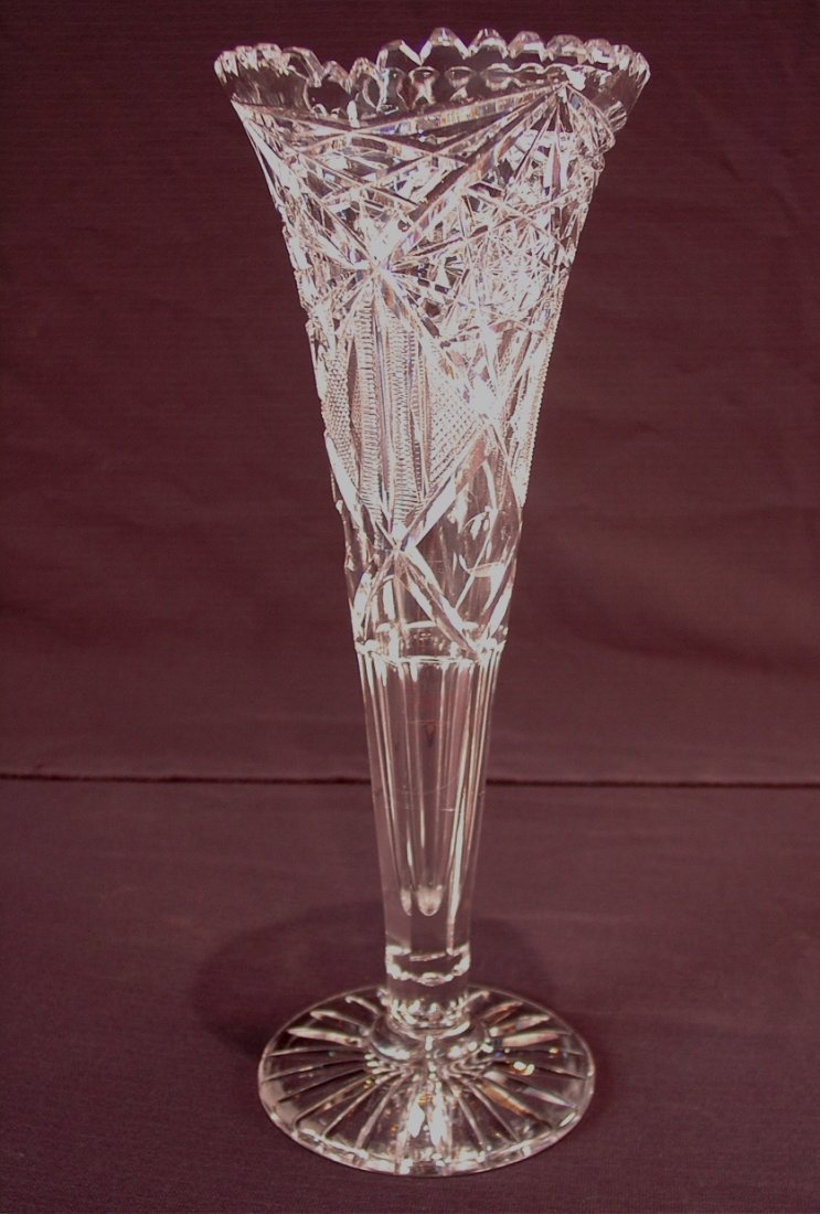 503: American brilliant cut glass trumpet vase, 14in.