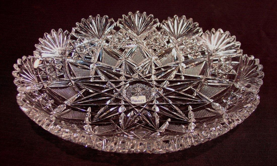 504: American brilliant cut glass bowl, signed Hawkes,