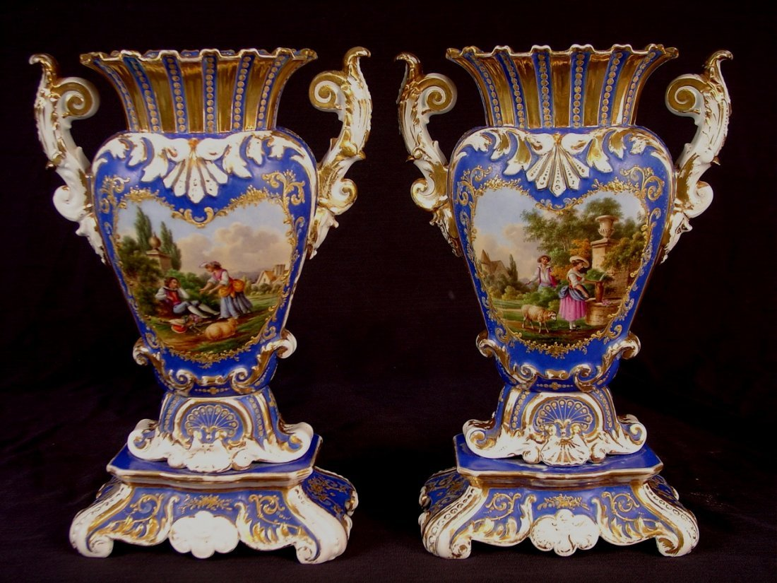 409: Pair of old Paris vases, blue, white and gold with