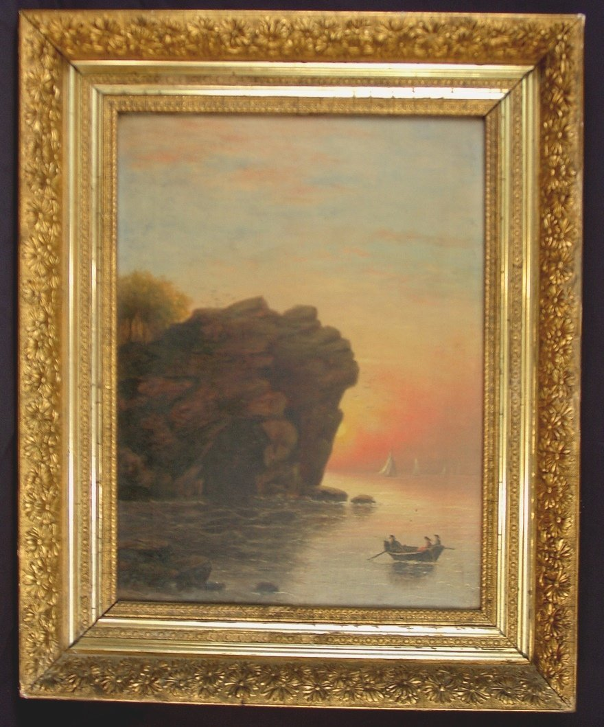306: 19th century American oil on canvas, stretcher