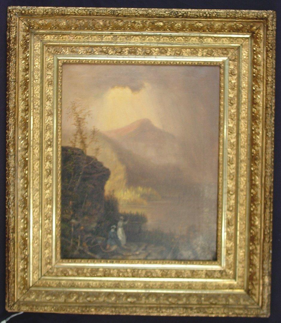 307: 19th Century oil on canvas of lake scene,