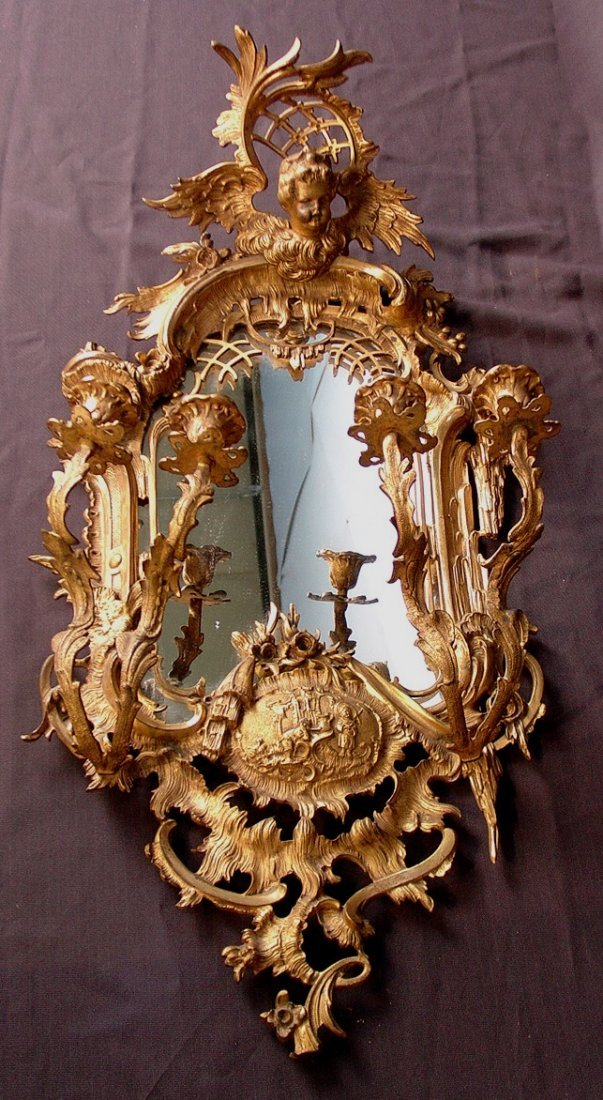 310: Outstanding rococo bronze dore mirror, 26in. T,