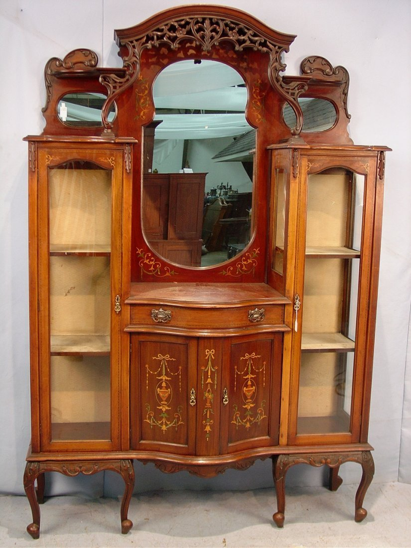 483: Mahogany English etagere with inlay on doors and