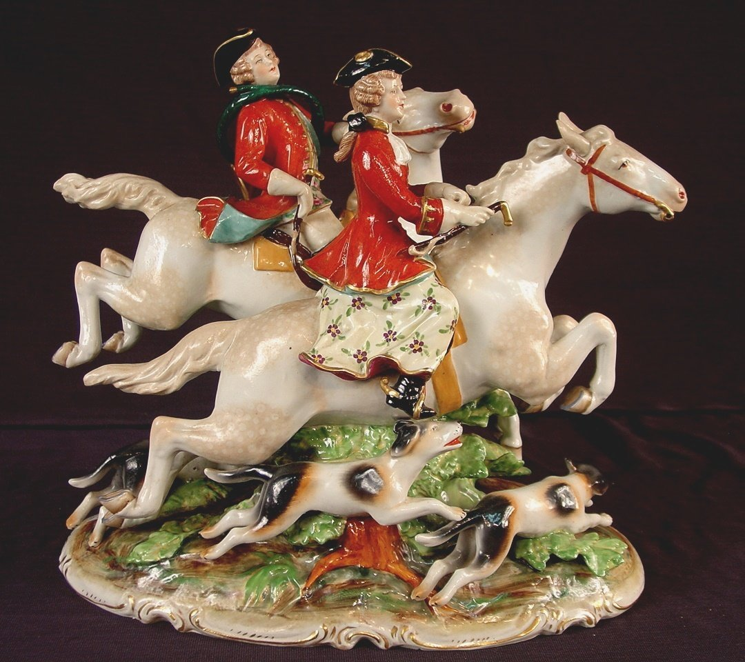 317: Dresden porcelain fox hunting group in mint