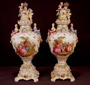 161: Pair of large 19th Century Dresden urns featuring
