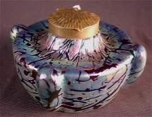 202: Art glass ink well by Kral K of Austria, late 1800