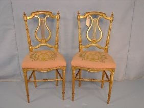 Pair Of Victorian Music Chairs, With Gold Leaf, Lyre